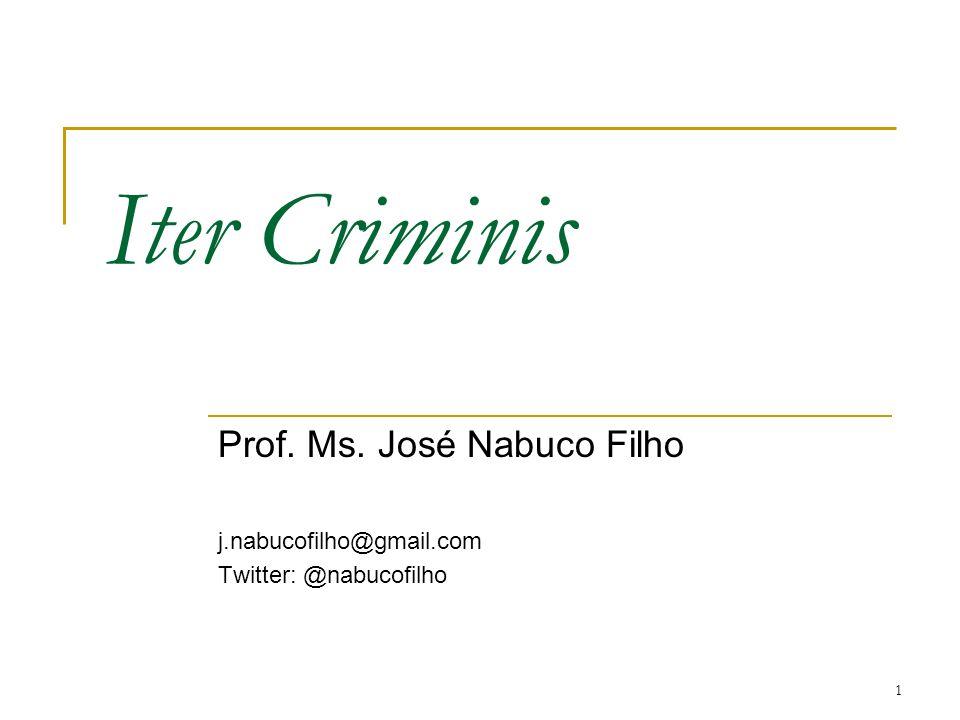 Iter Criminis Prof. Ms. José Nabuco Filho j.nabucofilho@gmail.com