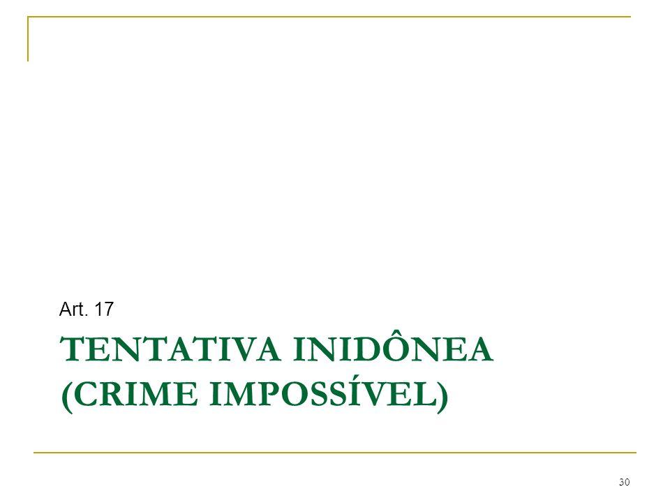 TENTATIVA INIDÔNEA (CRIME IMPOSSÍVEL)