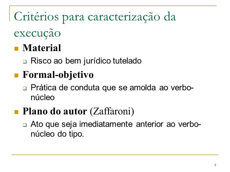 Critérios para caracterização da execução