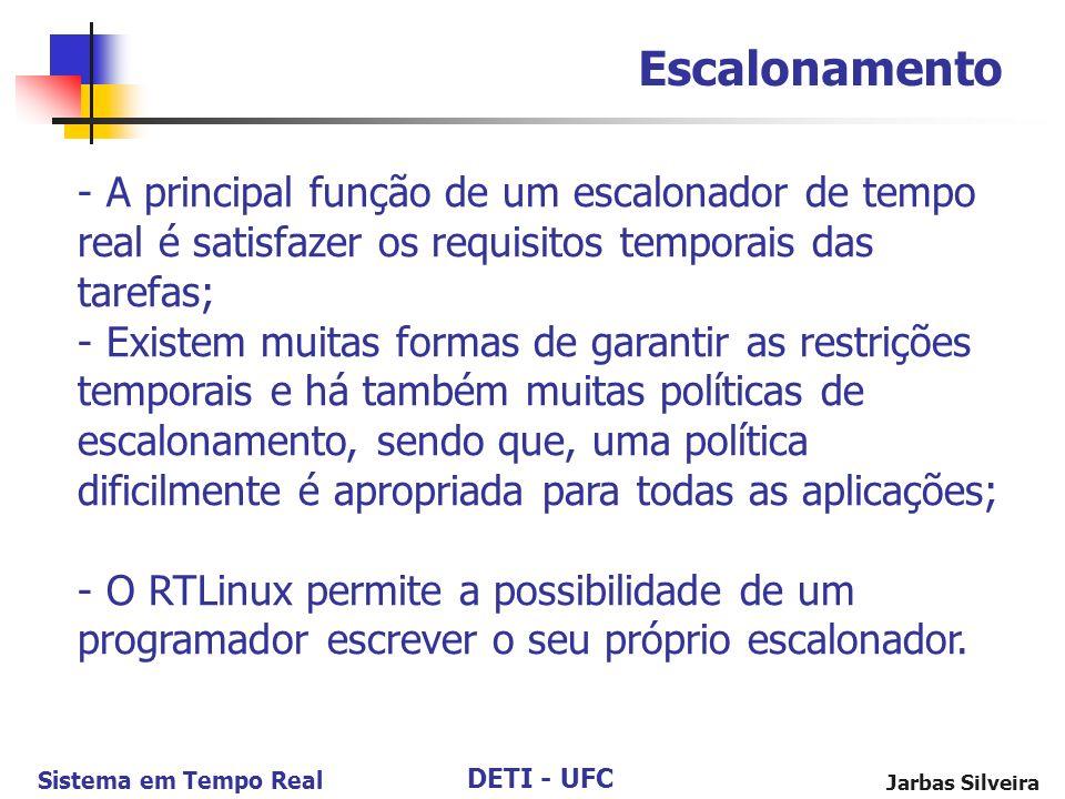 Escalonamento A principal função de um escalonador de tempo real é satisfazer os requisitos temporais das tarefas;