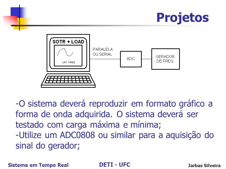 Projetos O sistema deverá reproduzir em formato gráfico a forma de onda adquirida. O sistema deverá ser testado com carga máxima e mínima;
