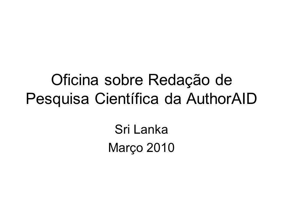 Oficina sobre Redação de Pesquisa Científica da AuthorAID