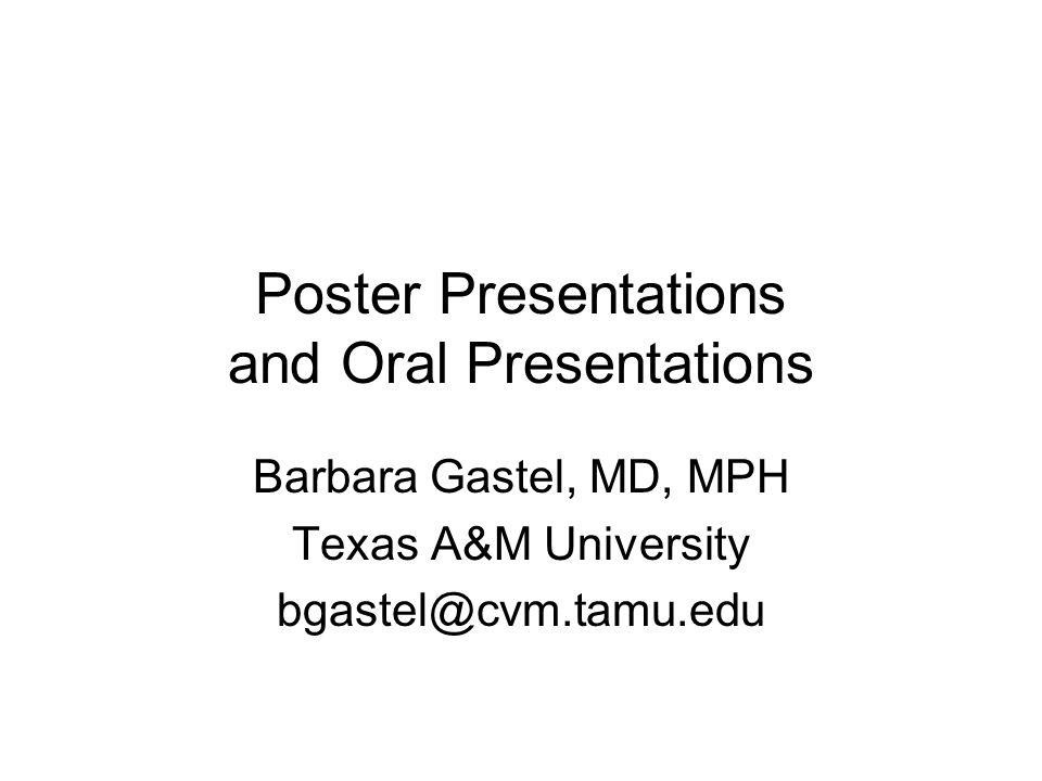 Poster Presentations and Oral Presentations