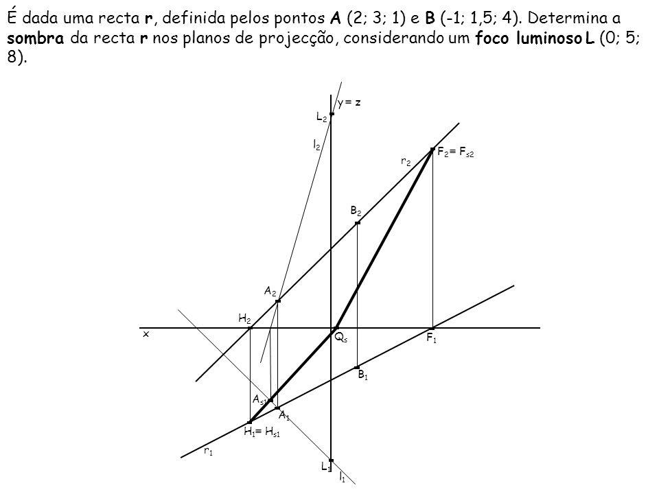 É dada uma recta r, definida pelos pontos A (2; 3; 1) e B (-1; 1,5; 4)