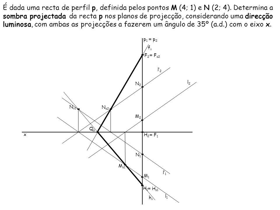 É dada uma recta de perfil p, definida pelos pontos M (4; 1) e N (2; 4). Determina a sombra projectada da recta p nos planos de projecção, considerando uma direcção luminosa, com ambas as projecções a fazerem um ângulo de 35º (a.d.) com o eixo x.