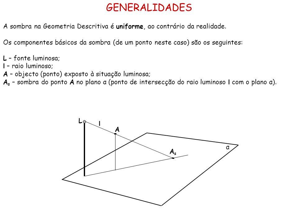 GENERALIDADES A sombra na Geometria Descritiva é uniforme, ao contrário da realidade.