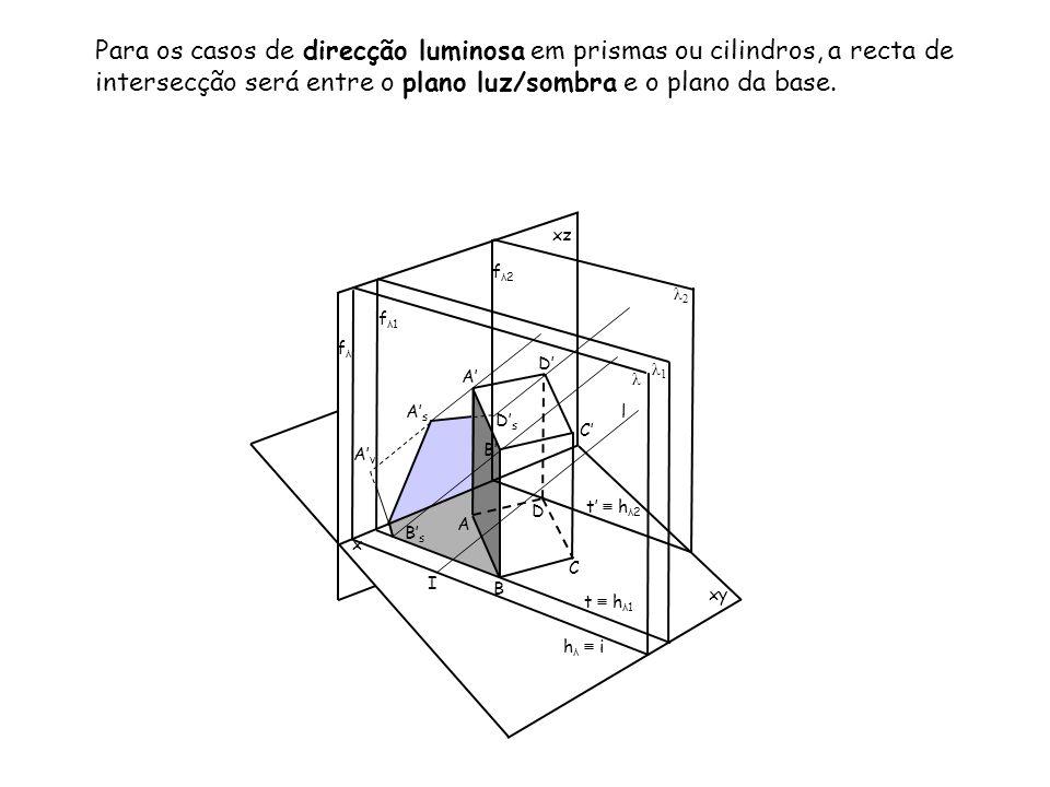 Para os casos de direcção luminosa em prismas ou cilindros, a recta de intersecção será entre o plano luz/sombra e o plano da base.