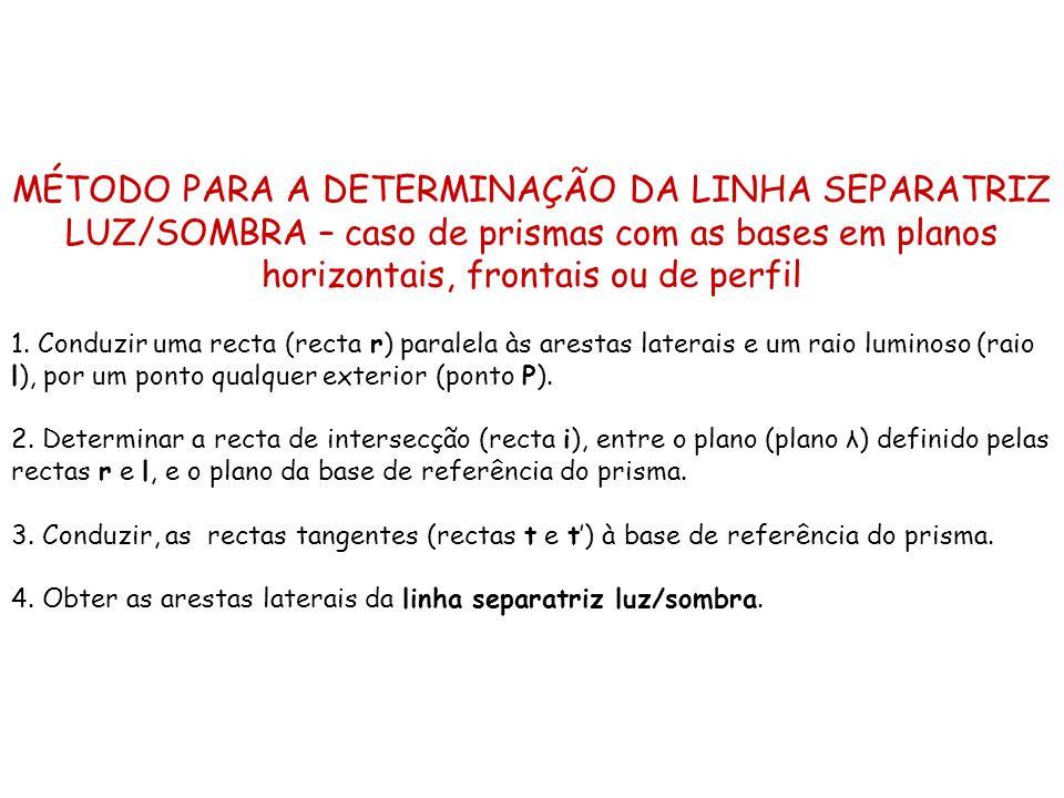 MÉTODO PARA A DETERMINAÇÃO DA LINHA SEPARATRIZ LUZ/SOMBRA – caso de prismas com as bases em planos horizontais, frontais ou de perfil