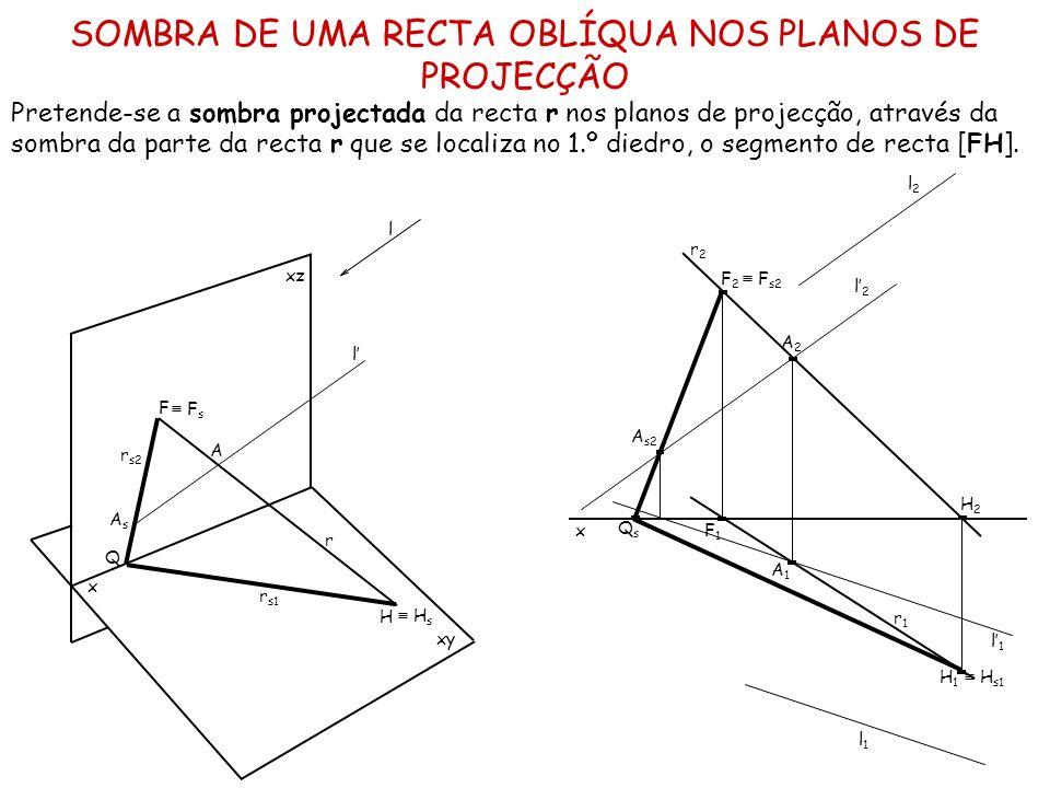 SOMBRA DE UMA RECTA OBLÍQUA NOS PLANOS DE PROJECÇÃO