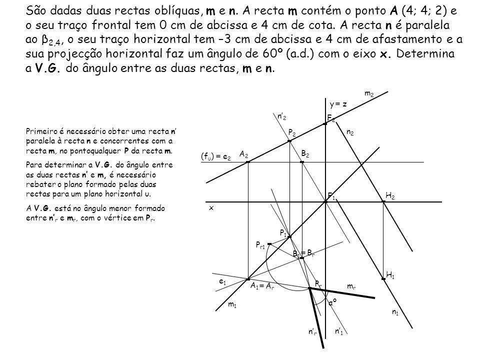 São dadas duas rectas oblíquas, m e n