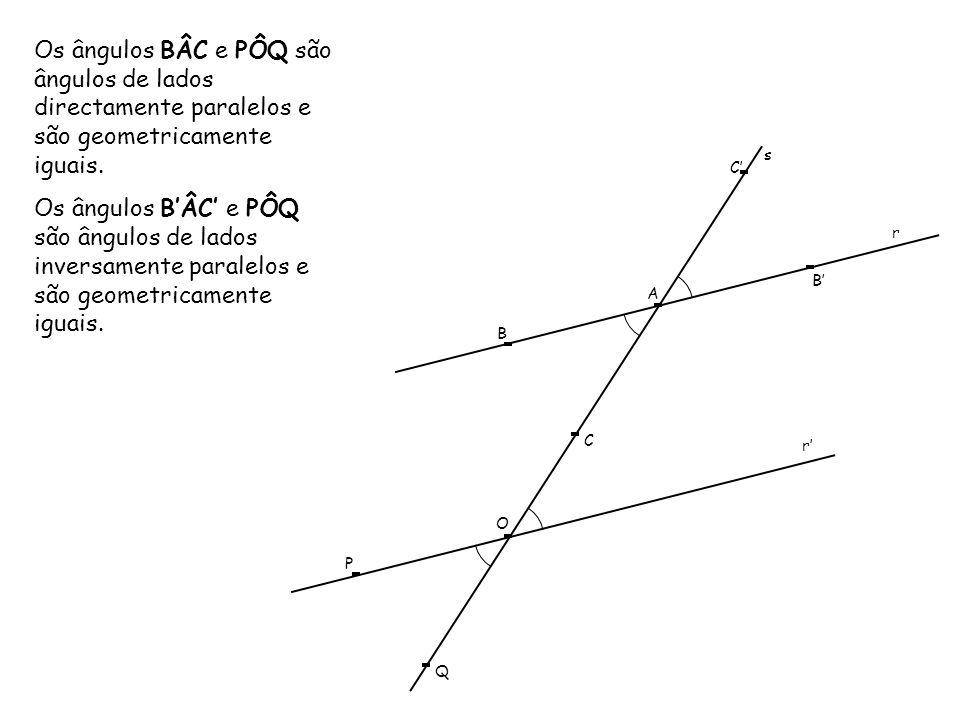 Os ângulos BÂC e PÔQ são ângulos de lados directamente paralelos e são geometricamente iguais.