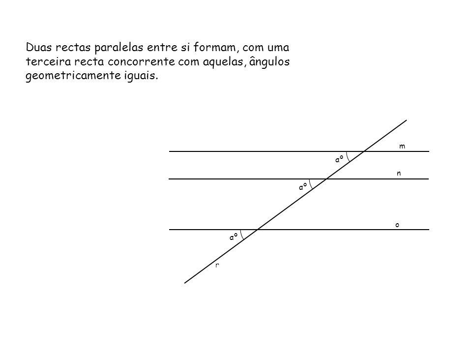 Duas rectas paralelas entre si formam, com uma terceira recta concorrente com aquelas, ângulos geometricamente iguais.