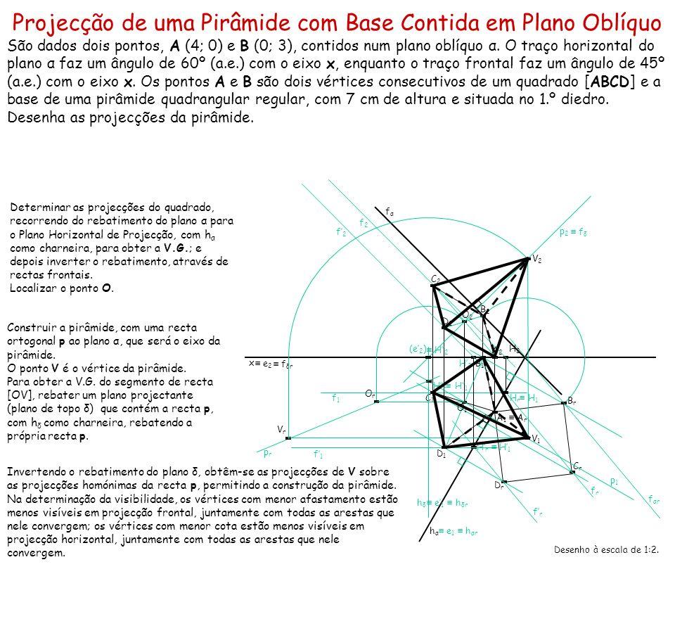 Projecção de uma Pirâmide com Base Contida em Plano Oblíquo