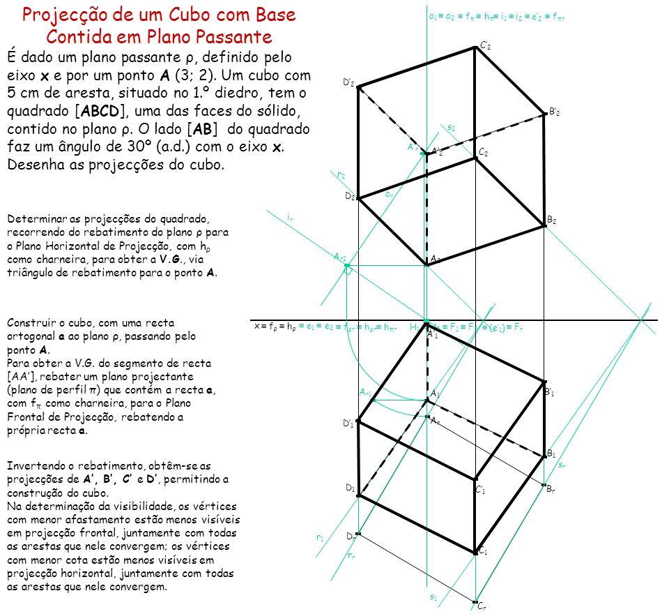 Projecção de um Cubo com Base Contida em Plano Passante