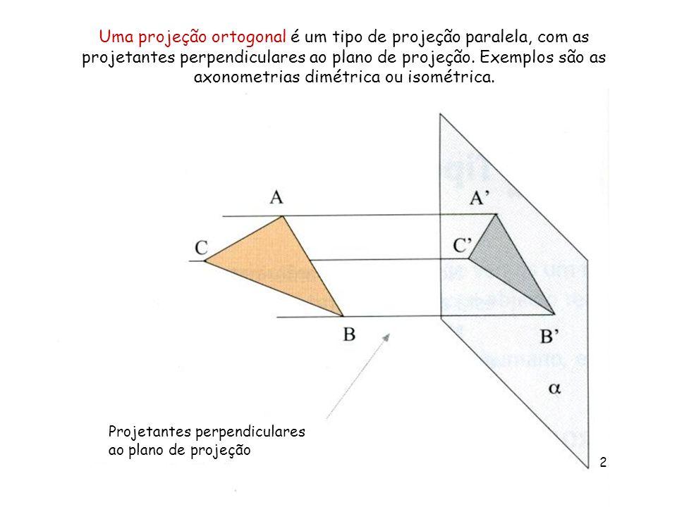 Uma projeção ortogonal é um tipo de projeção paralela, com as projetantes perpendiculares ao plano de projeção. Exemplos são as axonometrias dimétrica ou isométrica.
