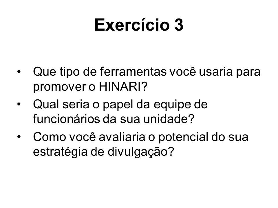 Exercício 3 Que tipo de ferramentas você usaria para promover o HINARI Qual seria o papel da equipe de funcionários da sua unidade