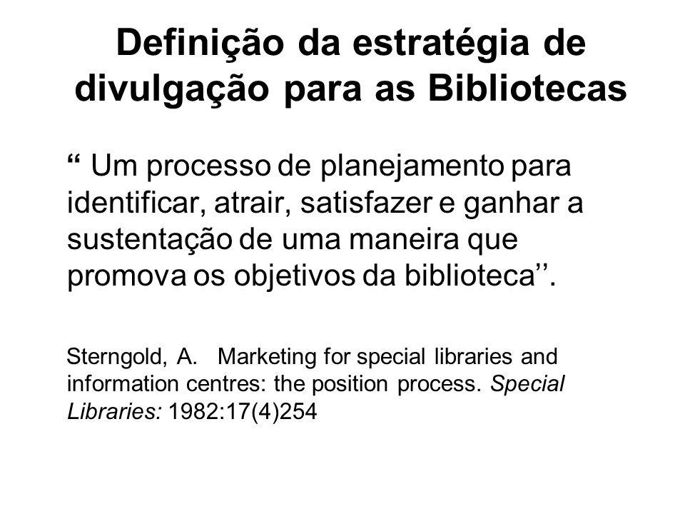 Definição da estratégia de divulgação para as Bibliotecas