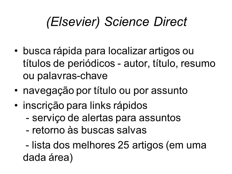 (Elsevier) Science Direct