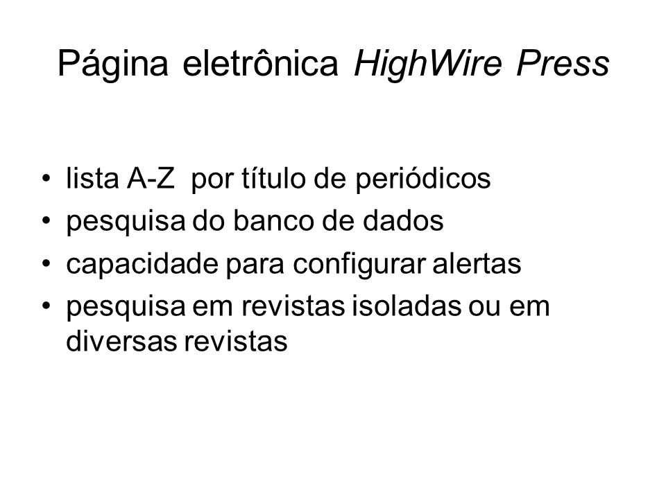 Página eletrônica HighWire Press