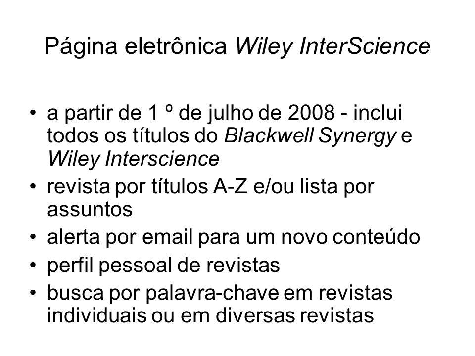 Página eletrônica Wiley InterScience