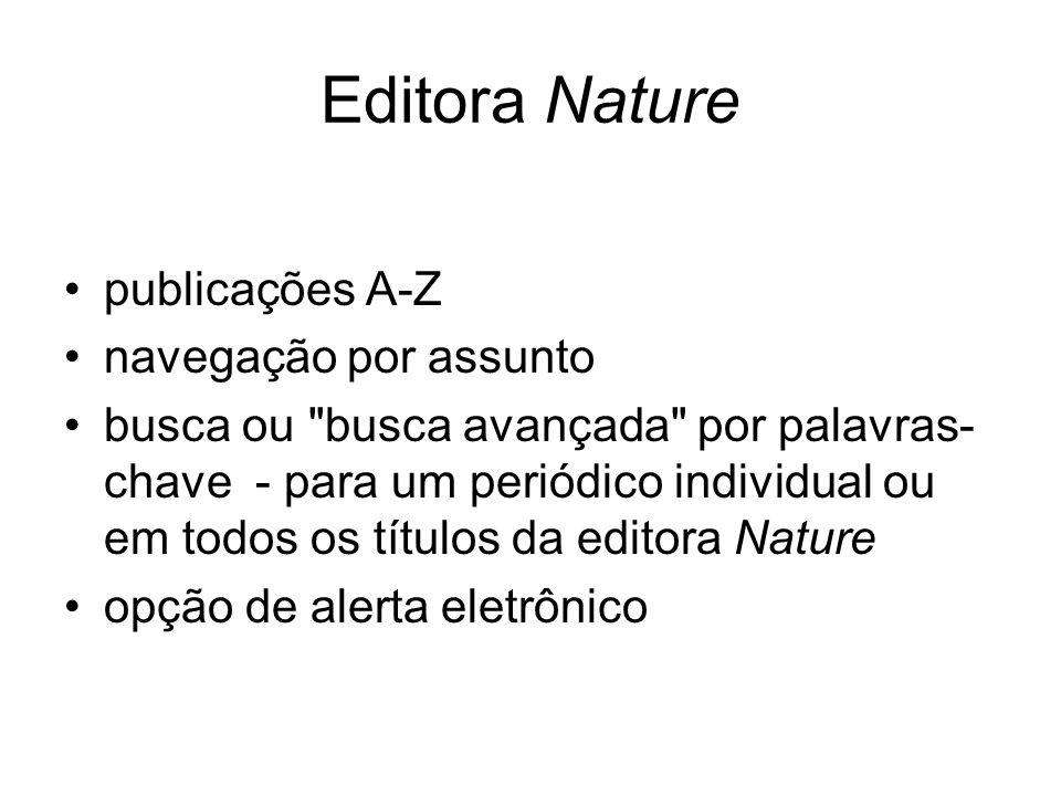 Editora Nature publicações A-Z navegação por assunto