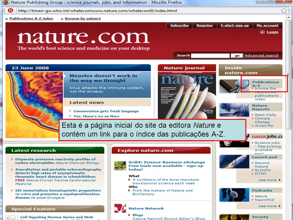 Nature Publishing Intro Page