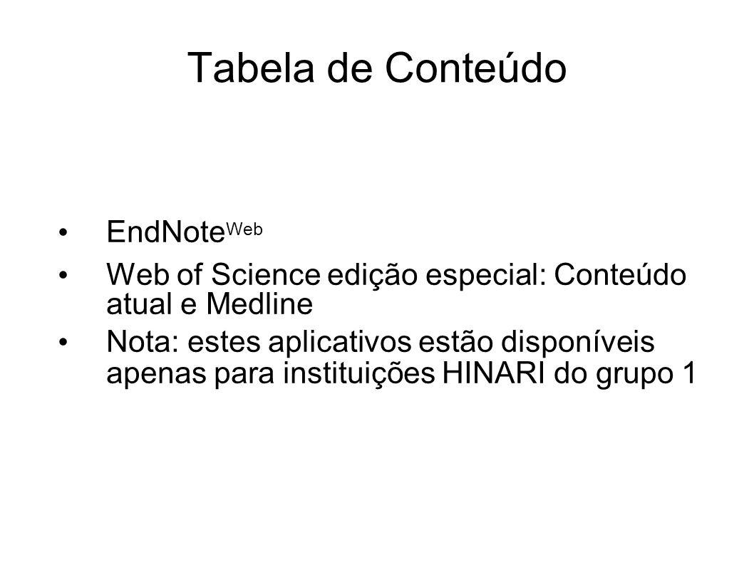 Tabela de Conteúdo EndNoteWeb