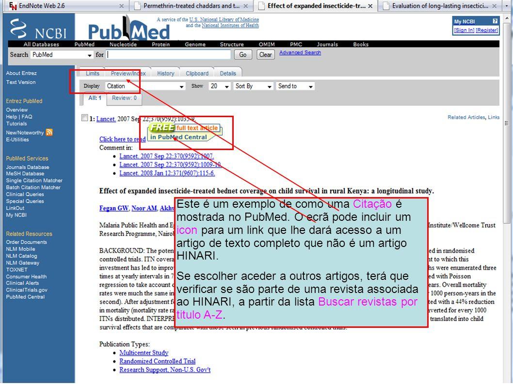 Este é um exemplo de como uma Citação é mostrada no PubMed