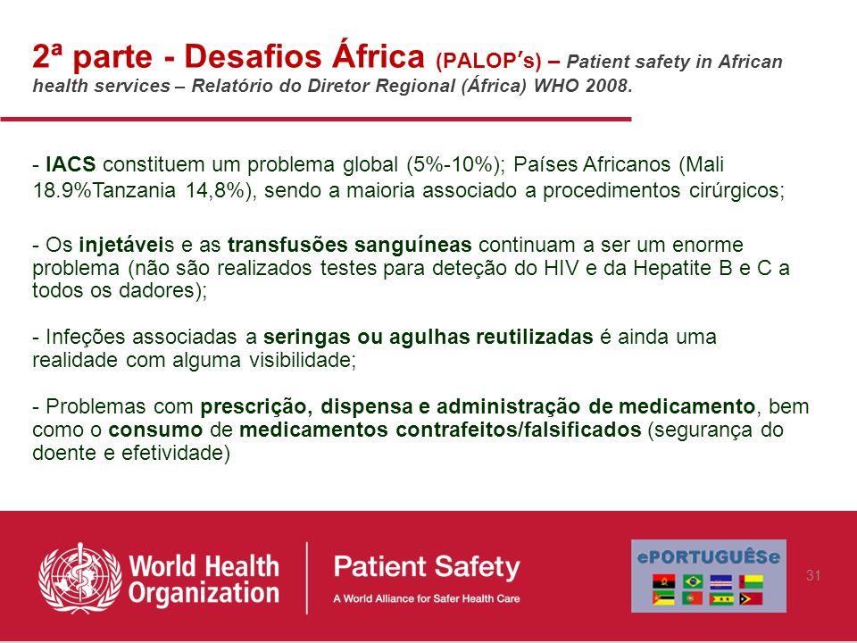 2ª parte - Desafios África (PALOP's) – Patient safety in African health services – Relatório do Diretor Regional (África) WHO 2008.