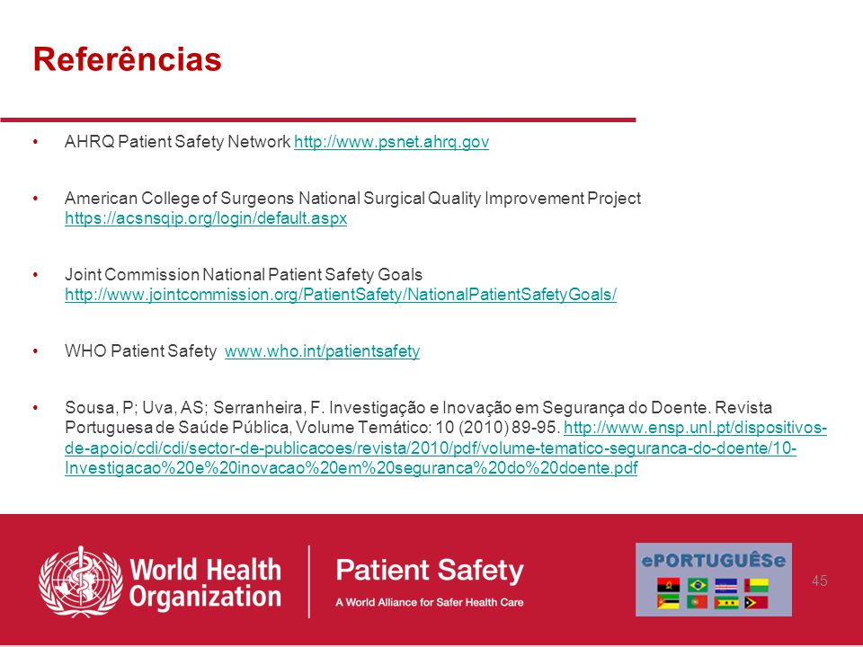 Referências AHRQ Patient Safety Network