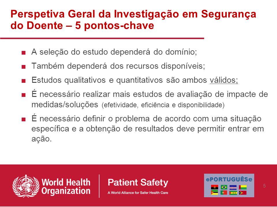 Perspetiva Geral da Investigação em Segurança do Doente – 5 pontos-chave