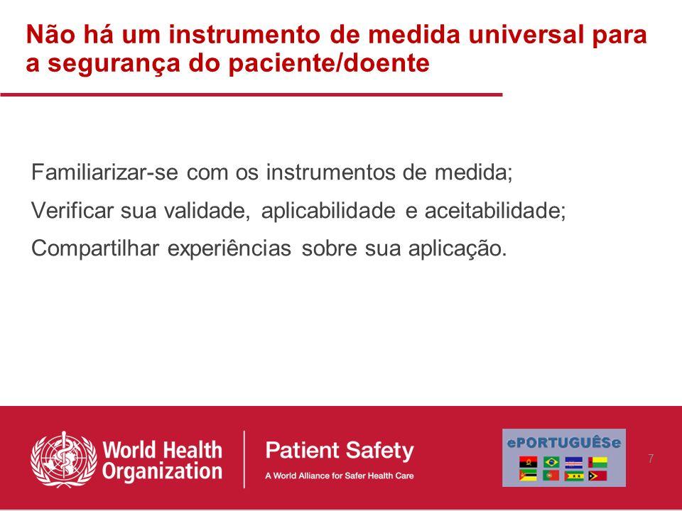 Não há um instrumento de medida universal para a segurança do paciente/doente