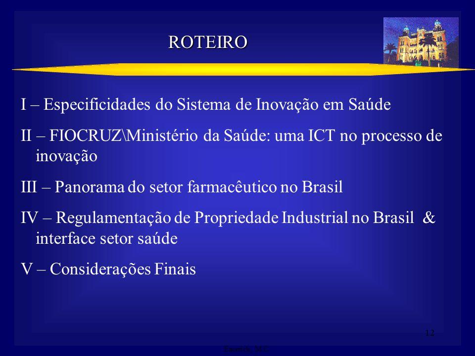 ROTEIRO I – Especificidades do Sistema de Inovação em Saúde