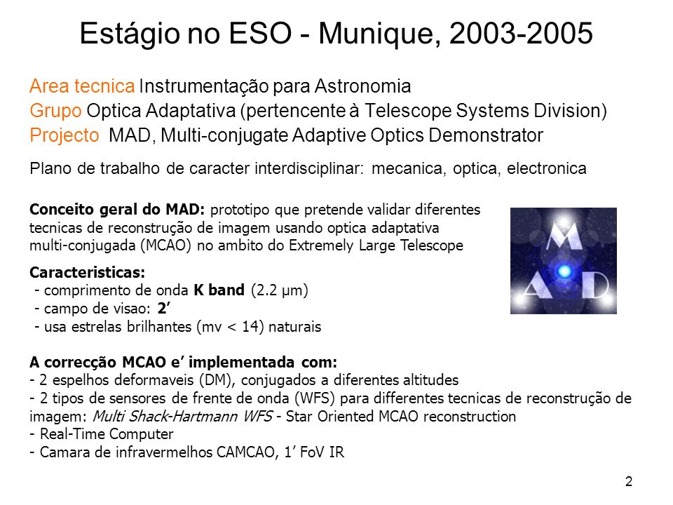 Estágio no ESO - Munique, 2003-2005