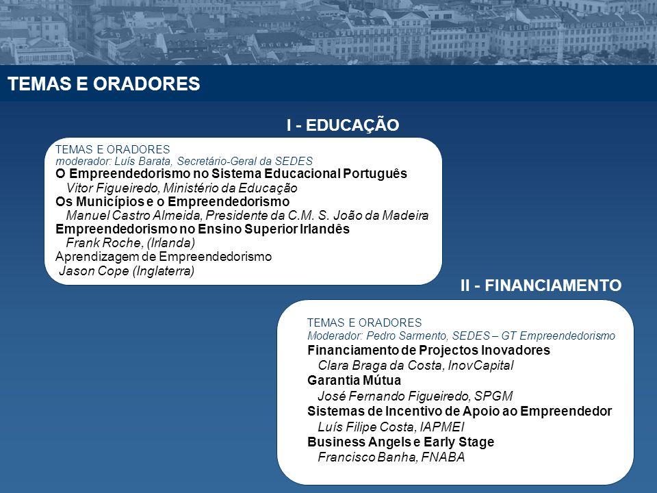 TEMAS E ORADORES I - EDUCAÇÃO II - FINANCIAMENTO