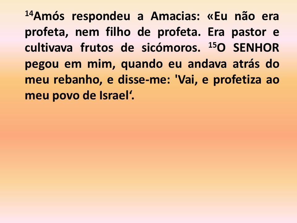 14Amós respondeu a Amacias: «Eu não era profeta, nem filho de profeta