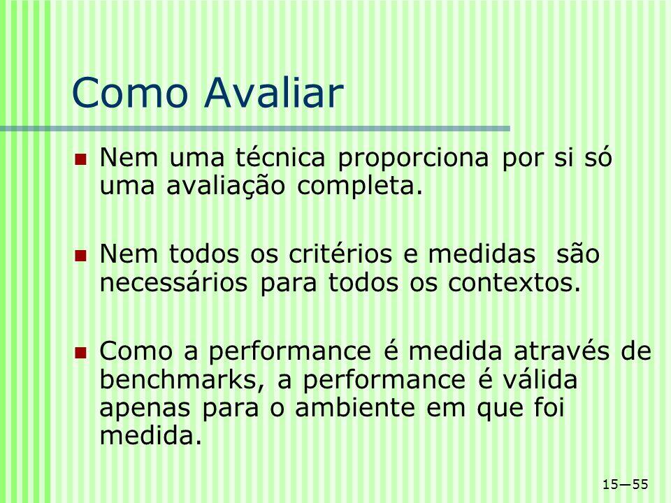 Como Avaliar Nem uma técnica proporciona por si só uma avaliação completa.
