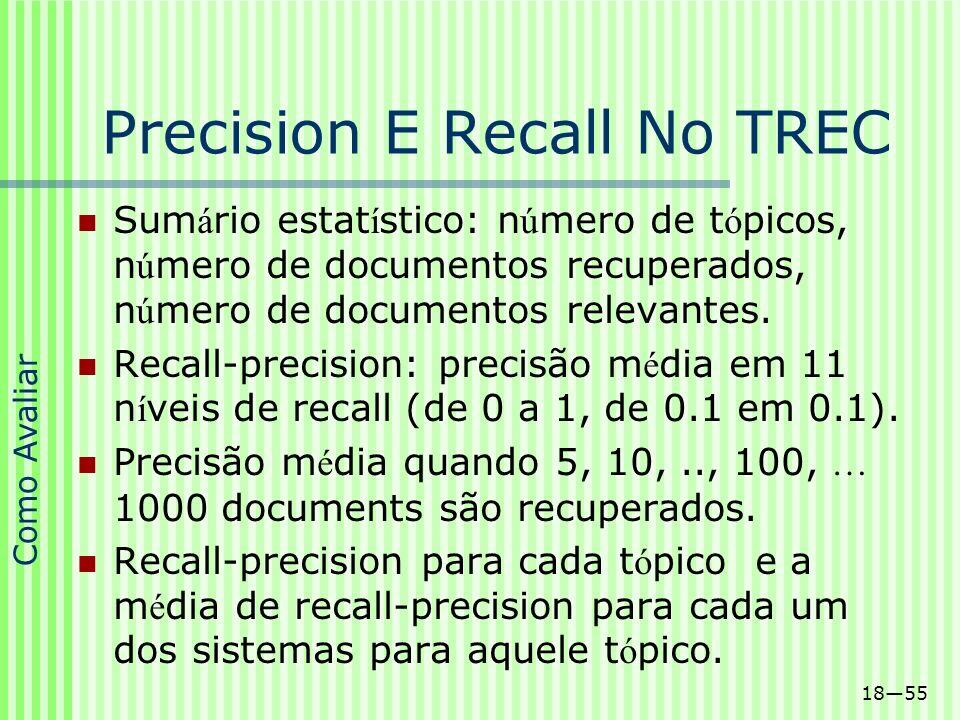 Precision E Recall No TREC
