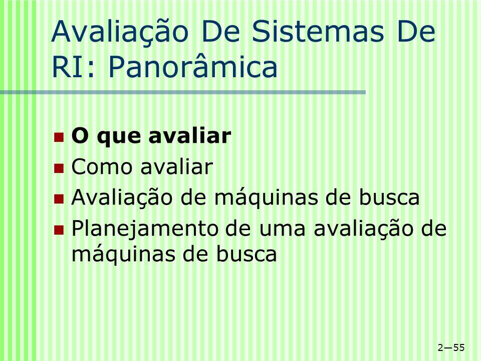 Avaliação De Sistemas De RI: Panorâmica