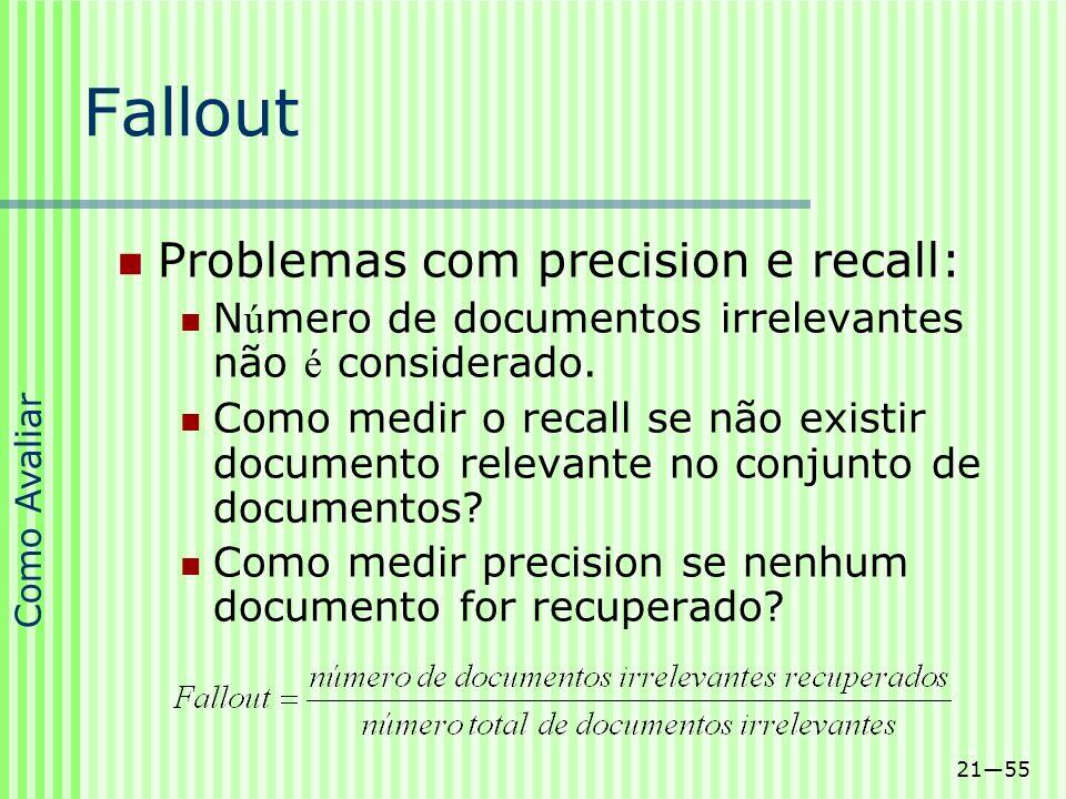 Fallout Problemas com precision e recall: