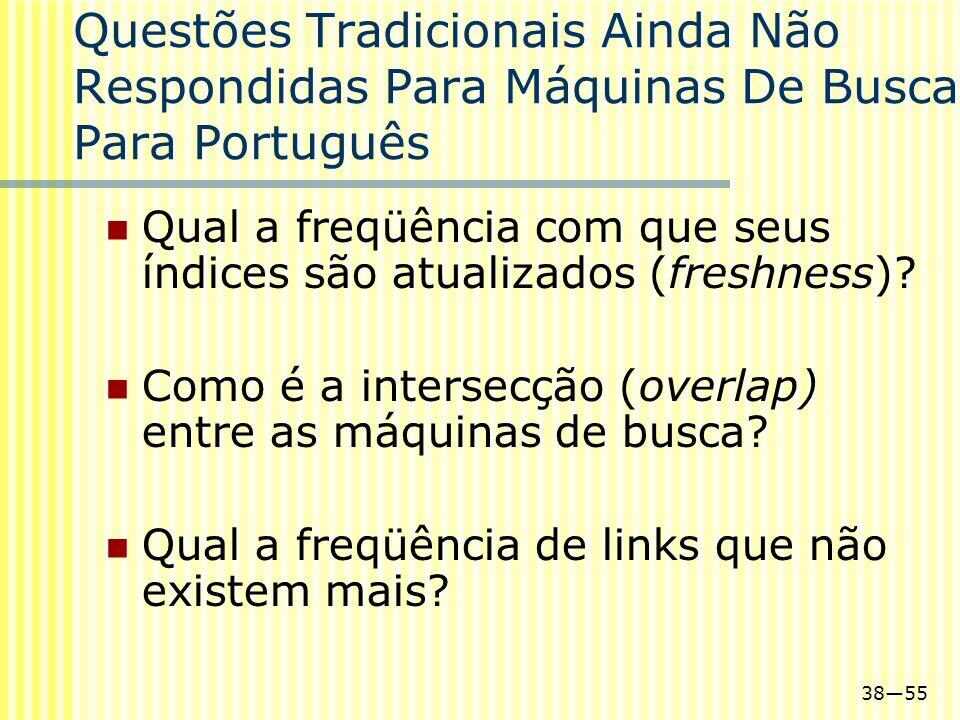Questões Tradicionais Ainda Não Respondidas Para Máquinas De Busca Para Português