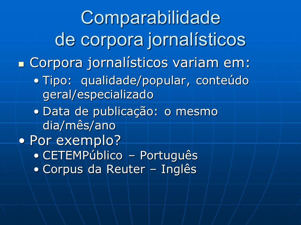 Comparabilidade de corpora jornalísticos