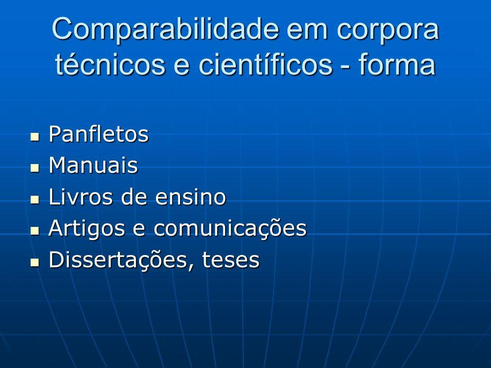Comparabilidade em corpora técnicos e científicos - forma