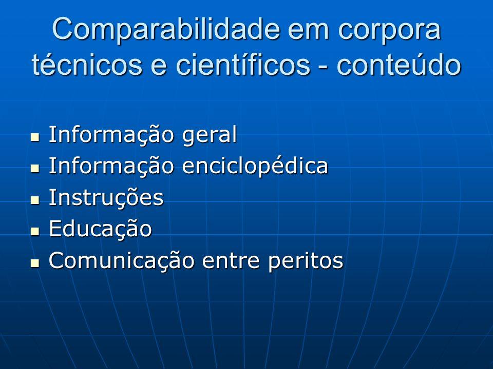 Comparabilidade em corpora técnicos e científicos - conteúdo