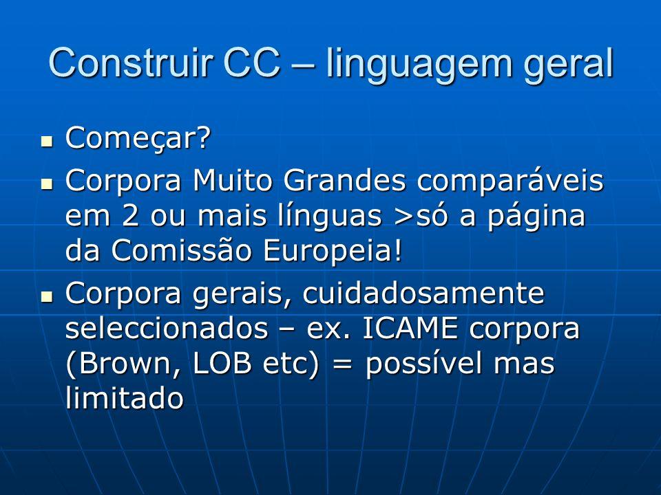 Construir CC – linguagem geral