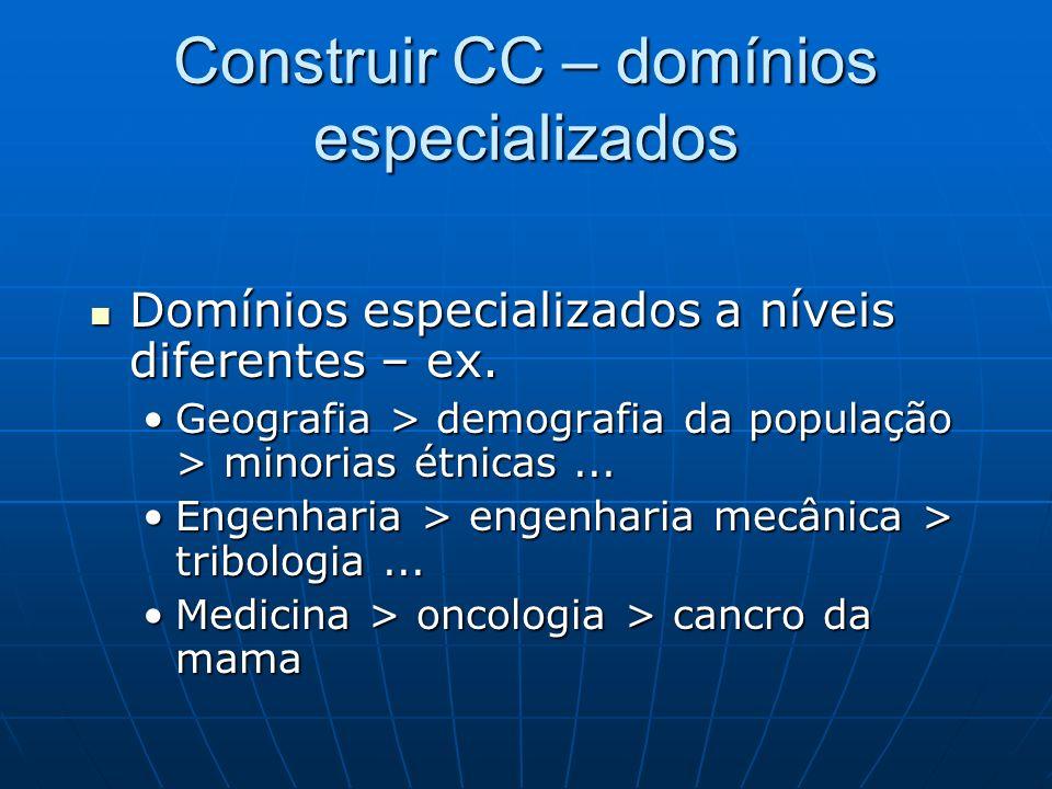 Construir CC – domínios especializados