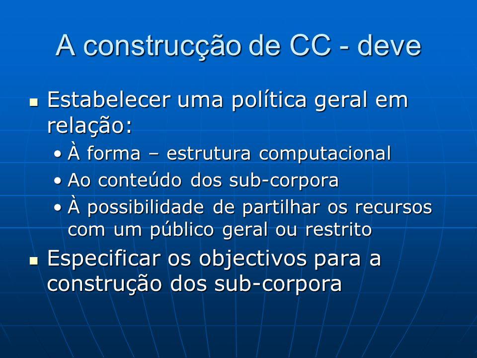 A construcção de CC - deve