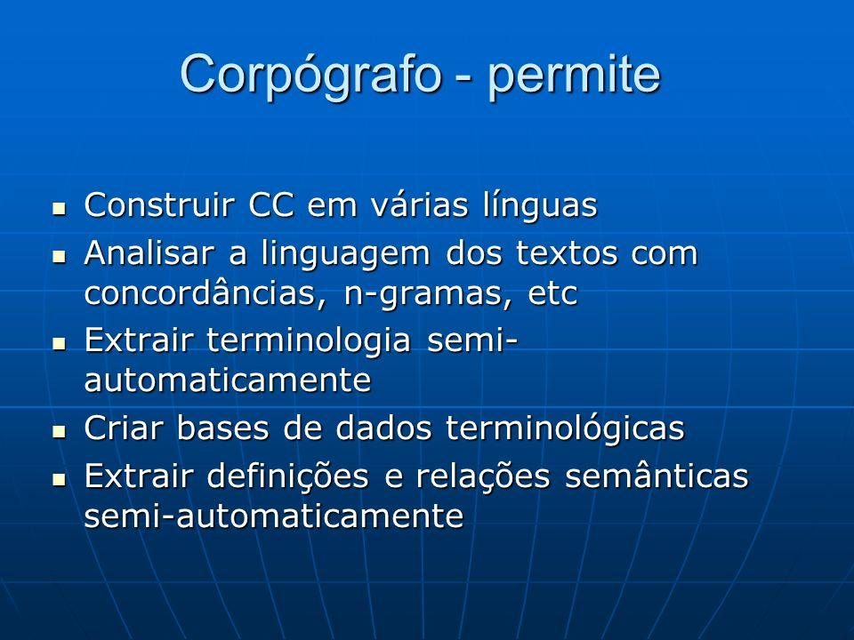 Corpógrafo - permite Construir CC em várias línguas