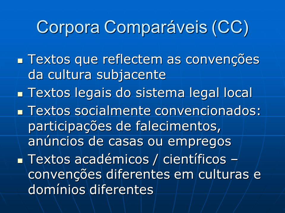 Corpora Comparáveis (CC)