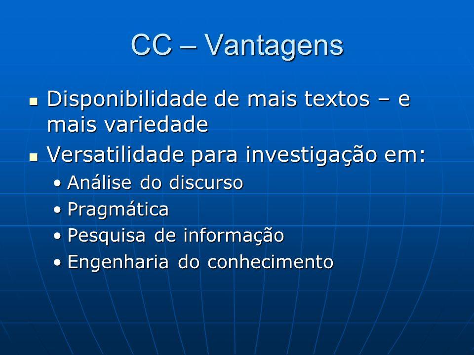 CC – Vantagens Disponibilidade de mais textos – e mais variedade